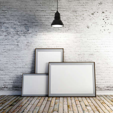 3d blank frame s and vintage brick wall photo