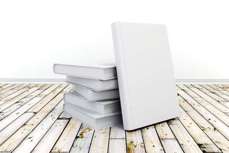 3d books with blank covers on wooden floor photo