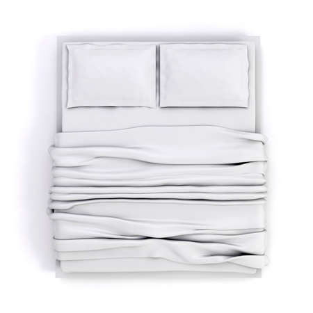 bed sheet: 3d empty white bed on white background