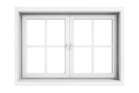 3d window frame on white background