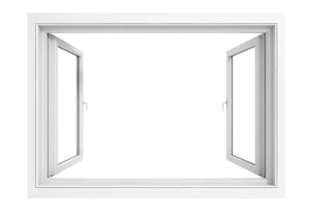 3d window frame on white background