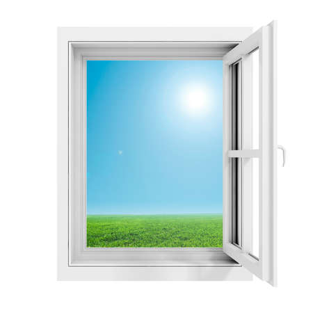 window frame: 3d window frame with beautiful blue sky background Stock Photo