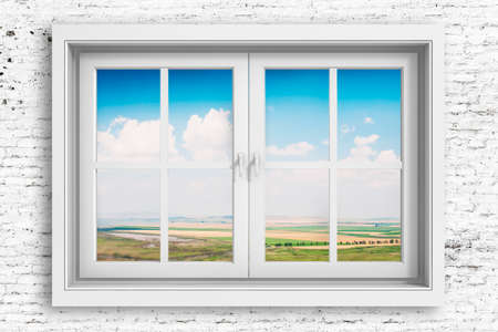 windows frame: 3d window frame with beautiful blue sky background Stock Photo