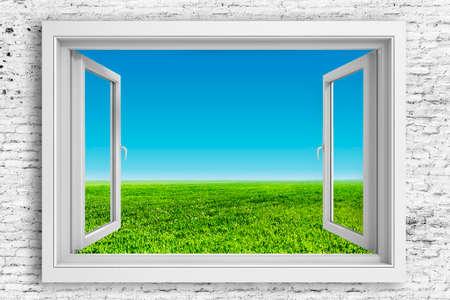 3d window frame with beautiful blue sky background Standard-Bild