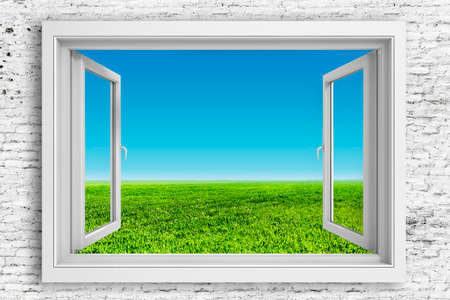3d window frame with beautiful blue sky background Imagens