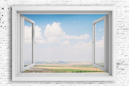 open window: 3d window frame with beautiful blue sky background Stock Photo