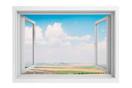 window frame: 3d window frame with beautiful blue sky background Stock Photo