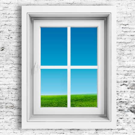 ventana abierta interior: Marco de la ventana 3d con el fondo hermoso cielo azul Foto de archivo