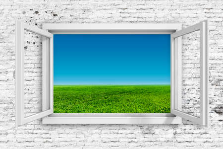 3d window frame with beautiful blue sky background 스톡 콘텐츠