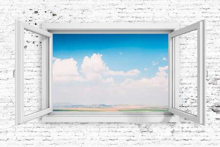 ventana abierta: Marco de la ventana 3d con el fondo hermoso cielo azul Foto de archivo