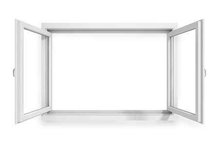 3d window frame on white background photo