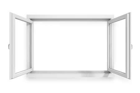 open windows: Marco de la ventana 3D sobre fondo blanco