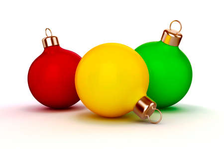 3d Christmas balls ornaments on white background photo