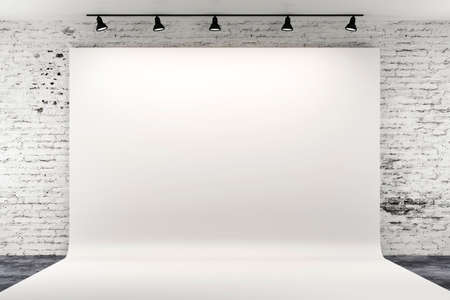 ライトと白い背景の 3 d スタジオのセットアップ