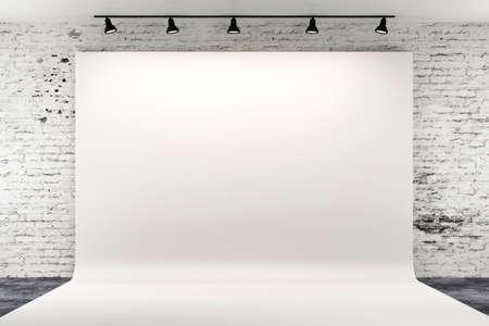3d studio setup met verlichting en witte achtergrond