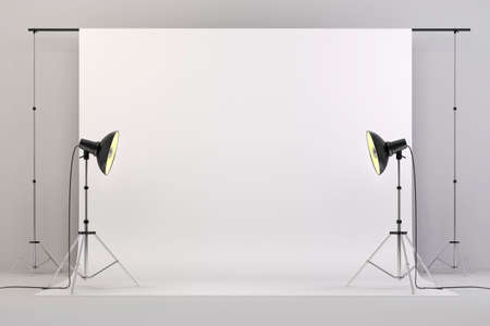 3d studio setup with lights and white background photo