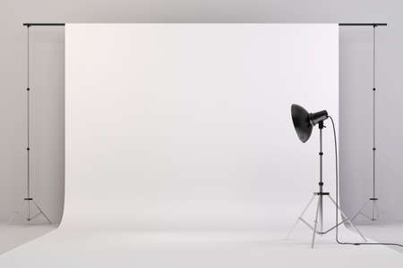 spotlight white background: 3d studio setup with lights and white background
