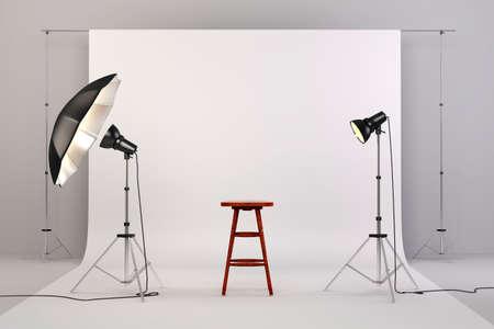 3d studio setup met verlichting, een houten stoel en een witte achtergrond Stockfoto