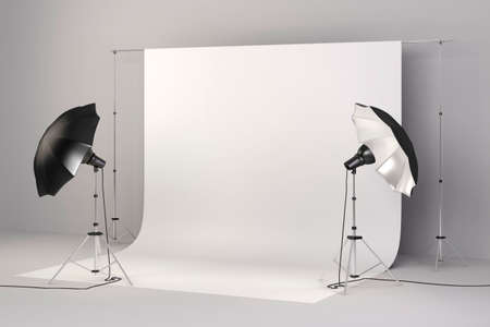 soft background: 3d studio setup with lights and white background