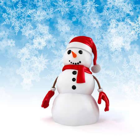 3d happy snowman with santa hat on snowflakes background photo
