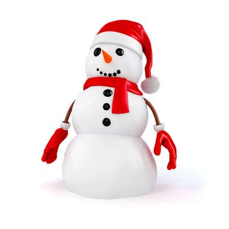 zanahoria caricatura: 3d mu�eco de nieve feliz con el sombrero de santa y guantes rojos sobre fondo blanco Foto de archivo