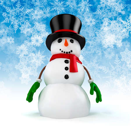 3d happy snowman with black hat and gloves on snowflakes background Stock Photo