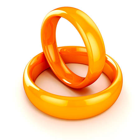 3d gold wedding rings on white background photo