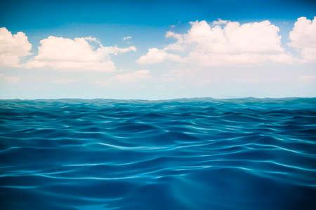 shore line: 3d render of ocean and beautiful blue sky