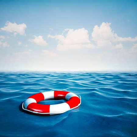 danger to life: 3d life buoy and blue ocean with blue sky background