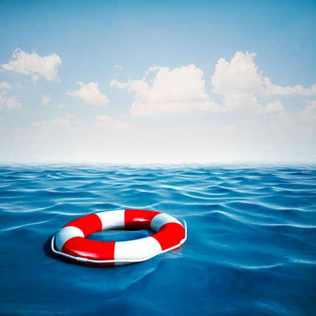 Salvavidas 3d y el océano azul con fondo de cielo azul