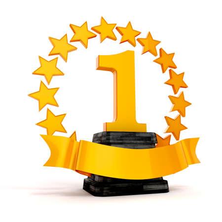 3d 1e plaats trofee en gouden sterren Stockfoto