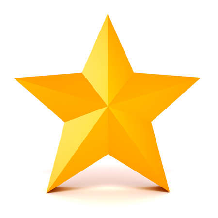 3d gold star on white background photo