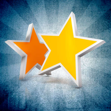 jewell: 3d - Two gold stars on blue gradient  background Stock Photo