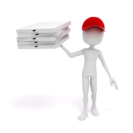 3d pizza: 3d man, pizza delivery Stock Photo