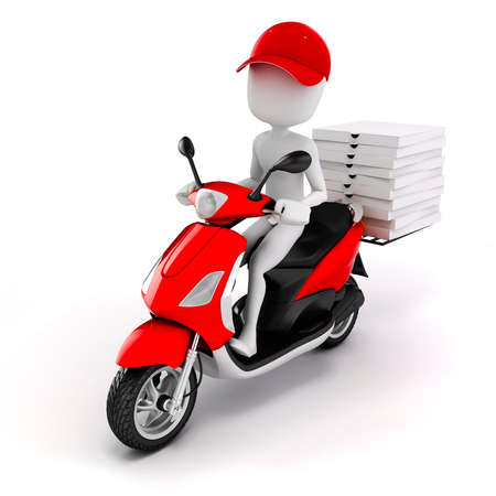 paper delivery person: 3d man, pizza delivery Stock Photo