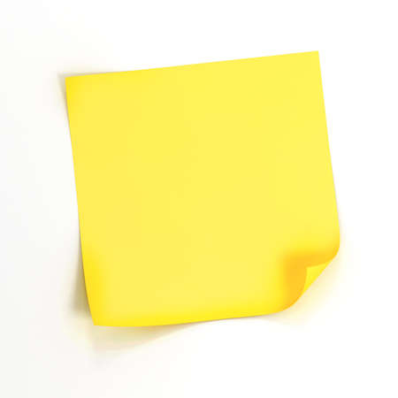 흰색 배경에 3D 노란색 스티커 메모