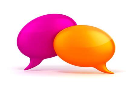 bubble talk: 3d colorful bubble talk on white background