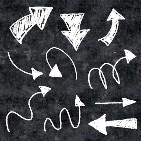 Flechas de tiza 3d en el fondo del grunge