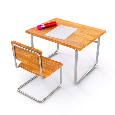 empty chair: 3d school desk and chair on white background Stock Photo