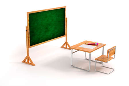 3d school desk and chair on white background photo