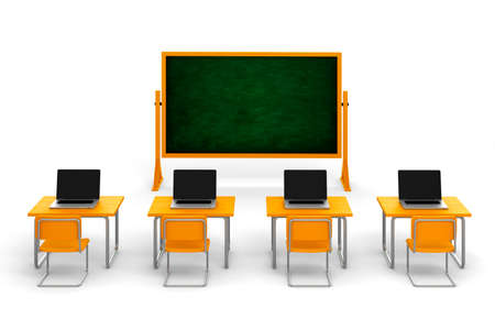 3d classroom with desks and laptops, on white background Stock Photo