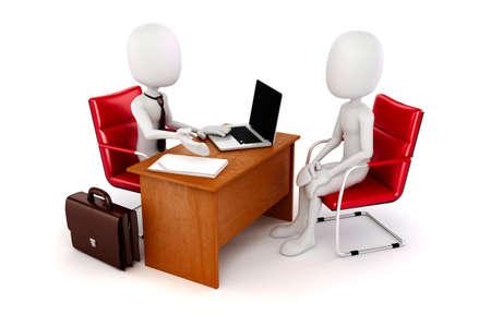 3D-man, zakelijke bijeenkomst, sollicitatiegesprek