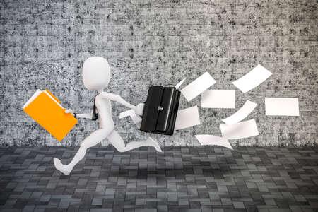 business metaphor: 3d man businessman running, business metaphor