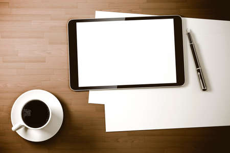 3d work place setup with digital tablet and documents Stock Photo