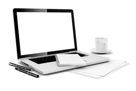 3D-bureau met computer en documenten Stockfoto