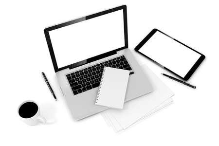 papel de notas: Escritorio de oficina 3d con la computadora y documentos Foto de archivo