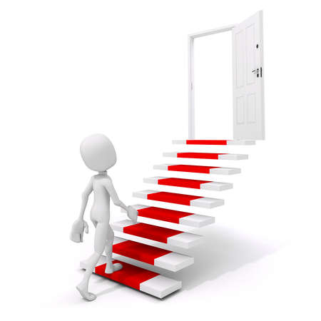 3d man climbing on a stair to success photo