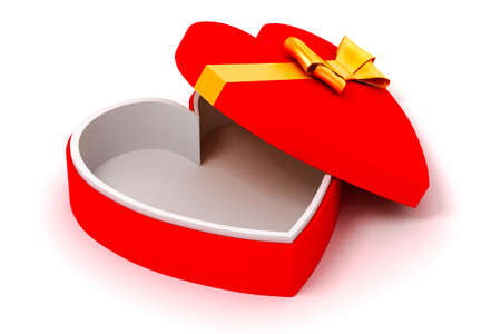 3d heart shape  box and bow on white background photo