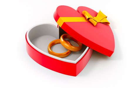 3d gold ring in a heart shape case photo