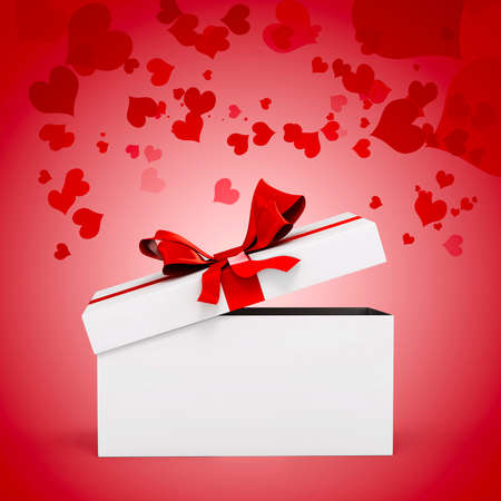 3d white present box and big red bow photo